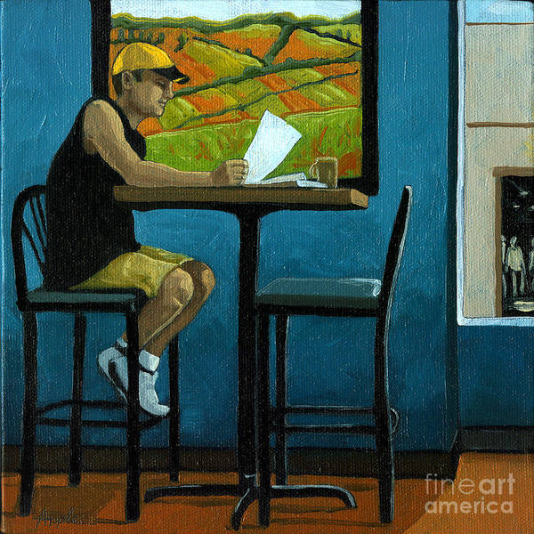 Wall Art - Painting - Day Off - Summer Coffee Shop by Linda Apple
