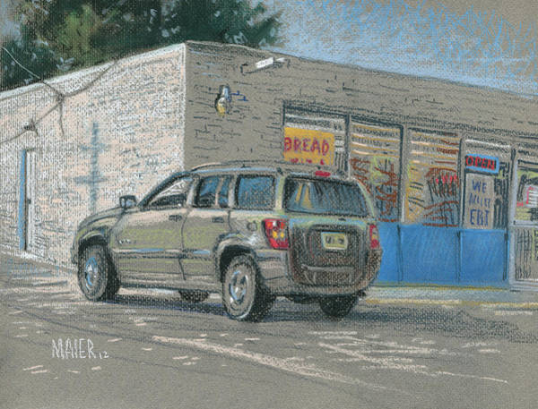 Old Car Drawing - Day Old Bread Store by Donald Maier