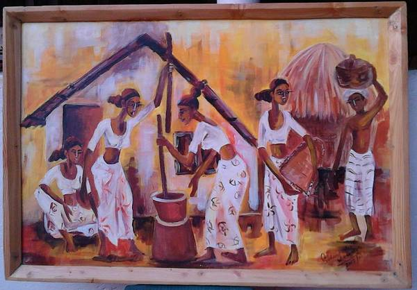 Wall Art - Painting - Day Today Activities By Villagers by Sudumenike Wijesooriya
