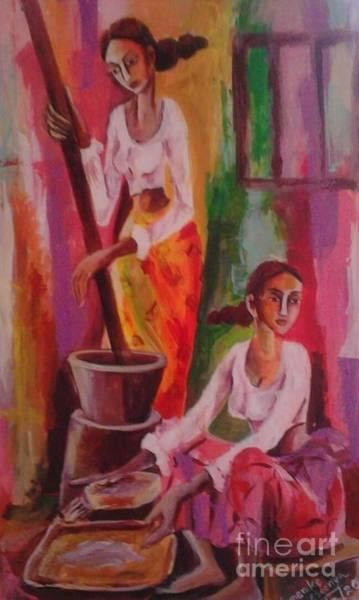 Wall Art - Painting - Day Today Activities In The Kitchen by Sudumenike Wijesooriya