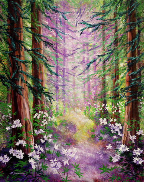 Wall Art - Painting - Daybreak In Springtime Redwood Trees by Laura Iverson