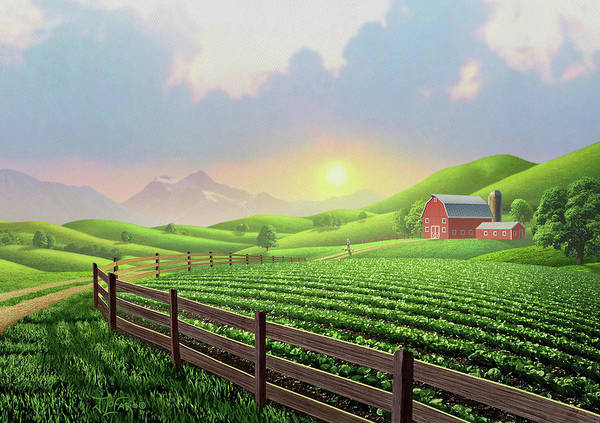 Field Digital Art - Daybreak by Jerry LoFaro
