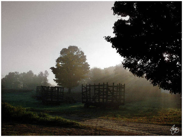 Photograph - Daybreak Over Hay Wagons by Wayne King