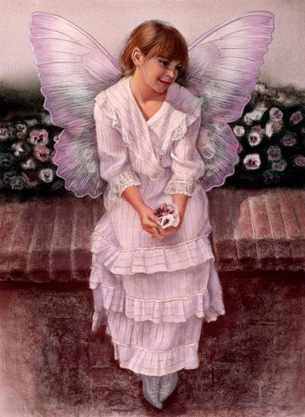 Wall Art - Painting - Daydreaming Fairy Girl by Sue Halstenberg