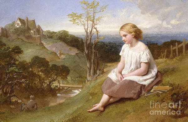 The Shepherdess Wall Art - Painting - Daydreaming On The River Bank by Henry Lejeune