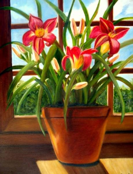 Painting - Daylilies In The Window by Susan Dehlinger