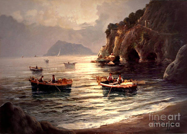 Day's End And Work Begins In The Gulf Of Naples Art Print