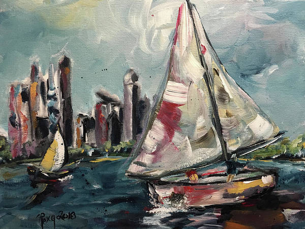 Transportation Painting - Daytime Sailing In Chicago by Roxy Rich
