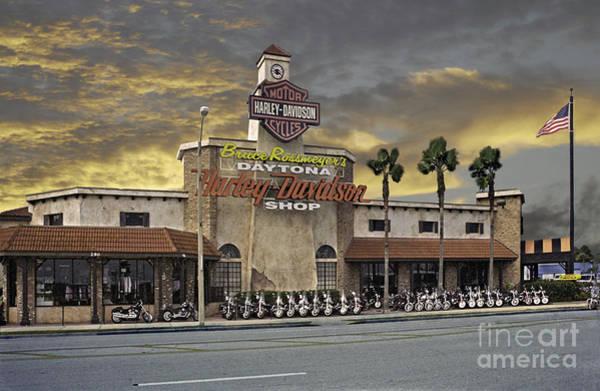 Photograph - Daytona Harley Davidson Shop by Richard Nickson