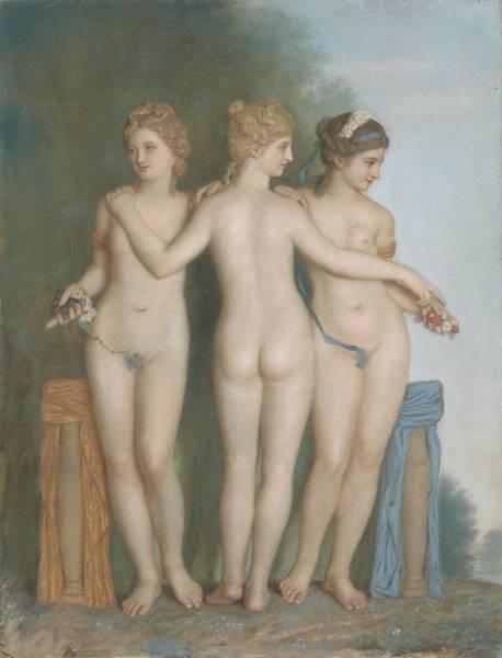 Perfect Body Painting - De Drie Gratien Naar Het Antieke Romeinse Beeld In De Borghese Verzameling Te Rome, 1737 by Jean-Etienne Liotard