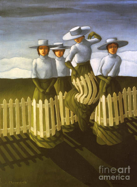 White Picket Fence Painting - De-fence Mechanism by Jane Whiting Chrzanoska