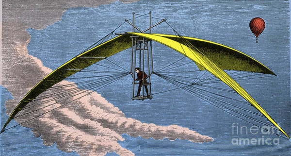 Photograph - De Groof Flying Machine 1784 by Science Source