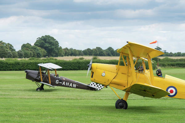 Photograph - De Havilland Tiger Moths Taxiing by Gary Eason