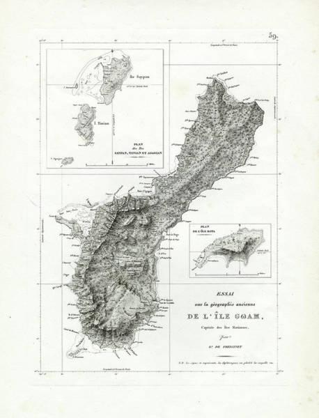 Ocean Drawing - De L Ile Gwam Guam by Freycinet  DuPerry