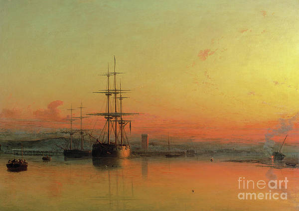 Mending Painting - Dead Calm  Sunset At The Bight Of Exmouth by Francis Danby