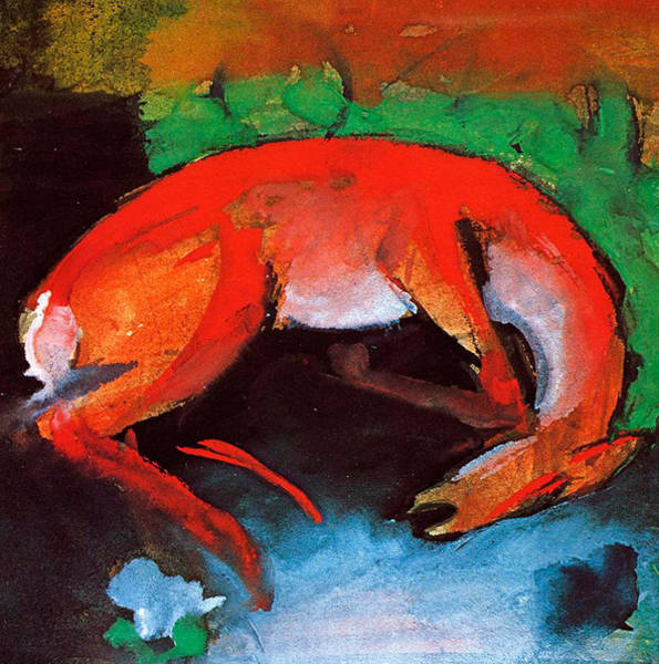 The Blue Rider Wall Art - Painting - Dead Deer by Franz Marc