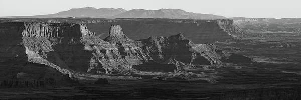 Photograph - Dead Horse Point Mountain And Canyon Landscape Panorama - Monochrome by Gregory Ballos