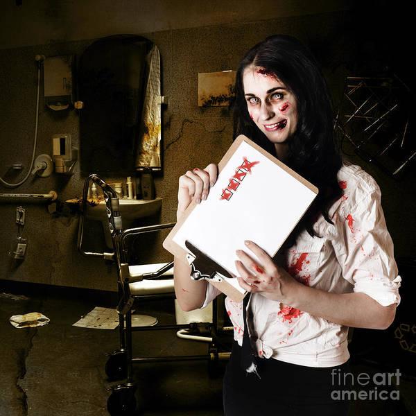 Wall Art - Photograph - Dead Hospital Nurse Holding Bad Health Checklist by Jorgo Photography - Wall Art Gallery