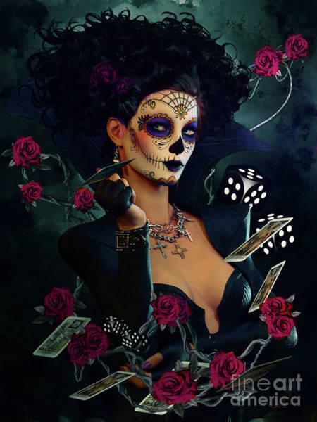 Wall Art - Mixed Media - Dead Lucky Sugar Doll by Shanina Conway