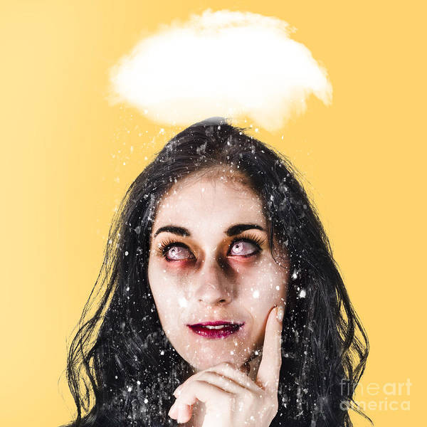 Turmoil Photograph - Dead Zombie Business Woman Brainstorming A Idea by Jorgo Photography - Wall Art Gallery