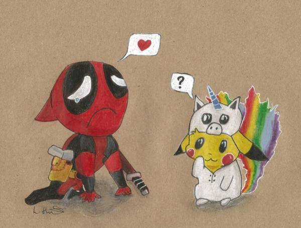 Pokemon Drawing - Deadpool's Pikachu Love by Loren Hill