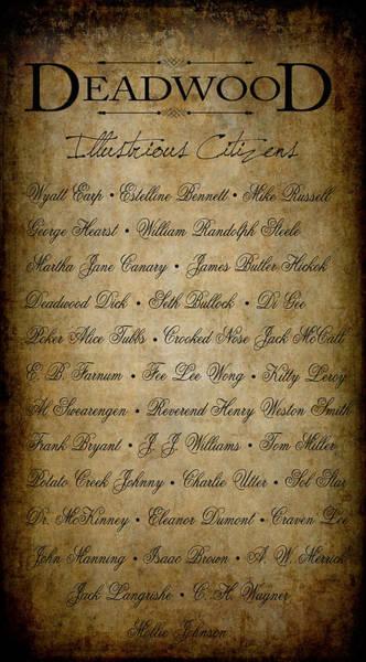 Wall Art - Digital Art - Deadwood Illustrious Citizen Roster by Daniel Hagerman