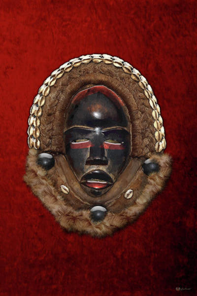 African Tribal Digital Art - Dean Gle Mask By Dan People Of The Ivory Coast And Liberia On Red Velvet by Serge Averbukh
