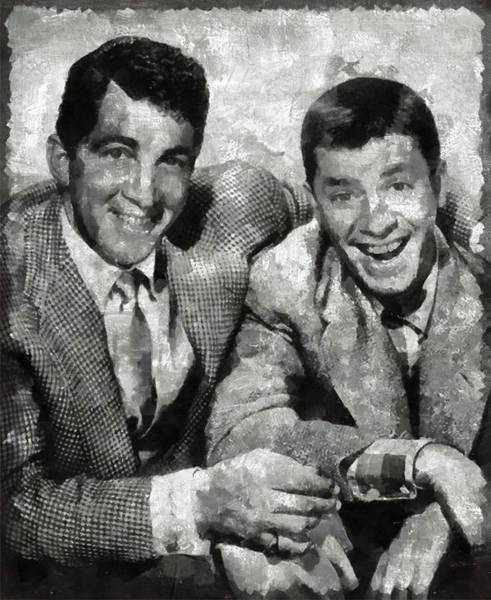 Wall Art - Painting - Dean Martin And Jerry Lewis Vintage Hollywood Legends by Mary Bassett