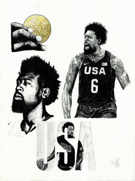 Gold Medal Drawing - Deandre Jordan, Rio 2017 by Danielle Gates