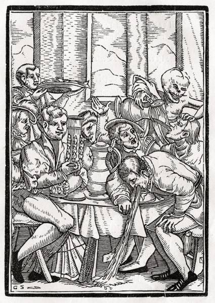 Destiny Drawing - Death Comes For The Drunkard Woodcut By by Vintage Design Pics