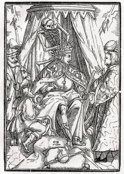 Destiny Drawing - Death Comes For The Emperor Woodcut By by Vintage Design Pics