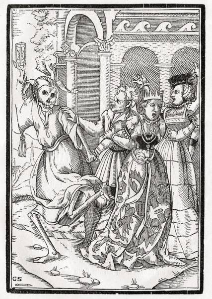 Destiny Drawing - Death Comes For The Queen Woodcut By by Vintage Design Pics