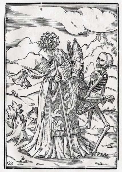 Destiny Drawing - Death Comes To The Bishop Woodcut By by Vintage Design Pics