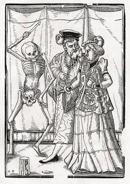 Destiny Drawing - Death Comes To The Duchess Woodcut By by Vintage Design Pics