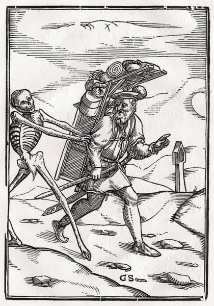 Destiny Drawing - Death Comes To The Pedlar Woodcut By by Vintage Design Pics