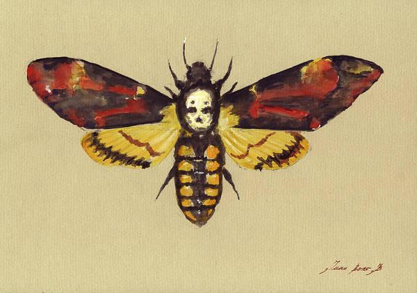 Head Painting - Death Head Hawk Moth by Juan Bosco