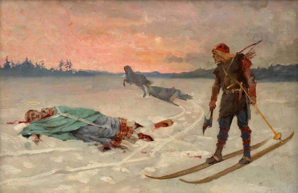 Wall Art - Painting - Death Of Bishop Henrik by Albert Edelfelt