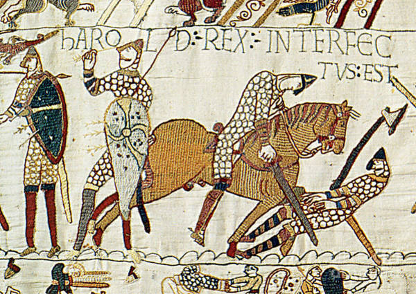 Tapestries Textiles Wall Art - Photograph - Death Of Harold, Bayeux Tapestry by Photo Researchers