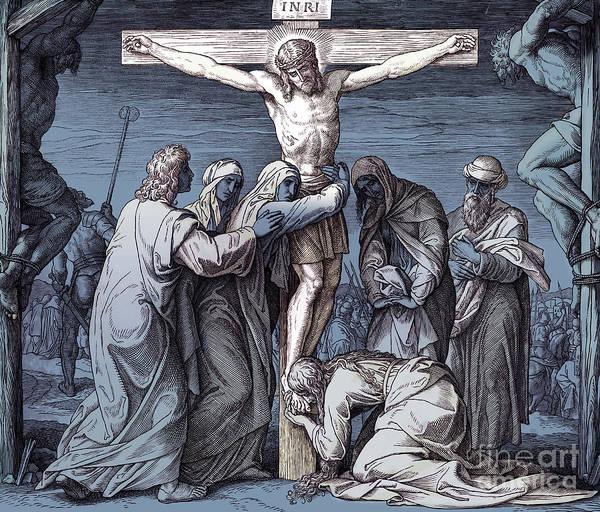 Wall Art - Drawing - Death Of Jesus On The Cross, Gospel Of John by Julius Schnorr von Carolsfeld
