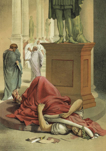 Cesar Wall Art - Painting - Death Of Julius Caesar, Rome, 44 Bc  by Spanish School