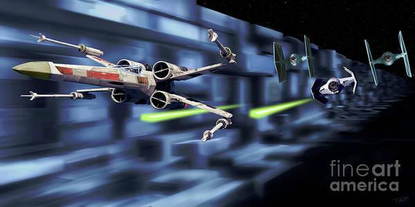 Shower Curtain Digital Art - Death Star Trench Battle  by Paul Tagliamonte