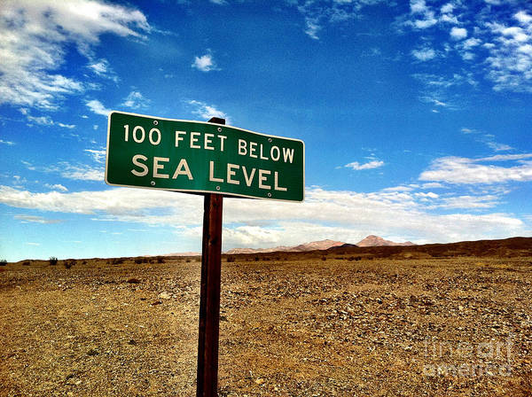 Photograph - Death Valley Below Sea Level Sign by Bryan Mullennix
