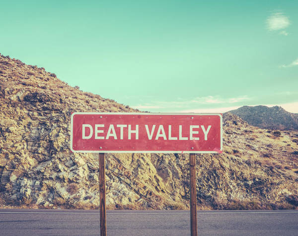Dry Photograph - Death Valley Sign by Mr Doomits