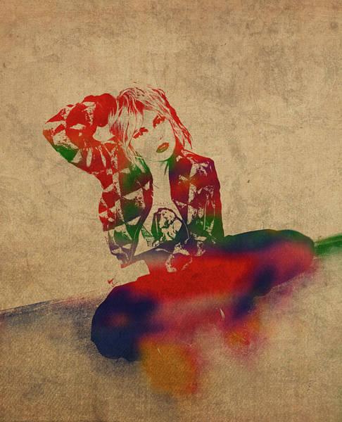 Blondie Wall Art - Mixed Media - Debbie Harry Blondie Watercolor Portrait by Design Turnpike