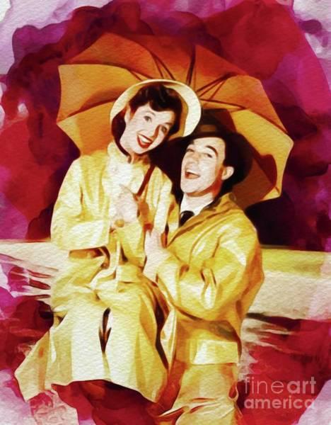 Wall Art - Painting - Debbie Reynolds And Gene Kelly In Singing In The Rain by John Springfield