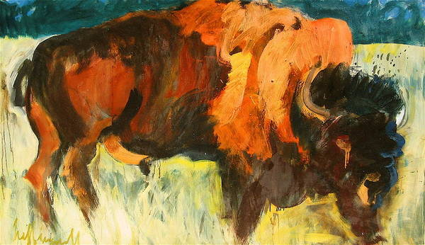 Painting - Debbie's Postcard Buffalo by Les Leffingwell