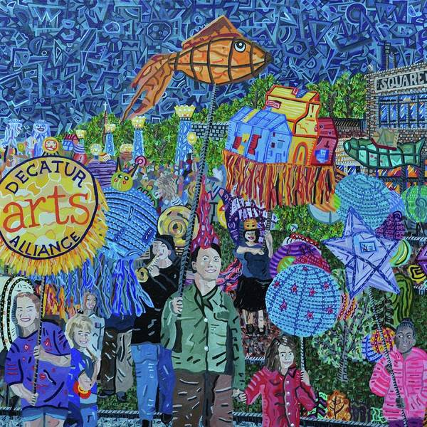 Wall Art - Painting - Decatur Lantern Parade by Micah Mullen