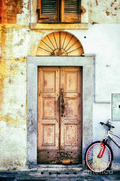 Photograph - Decayed Door And Bicycle by Silvia Ganora