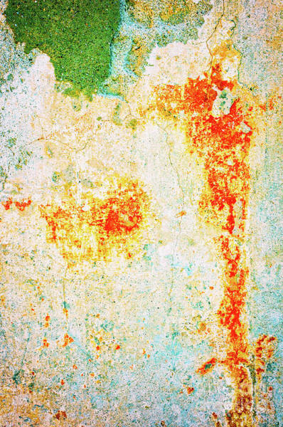 Photograph - Decayed Wall With Orange Paint by Silvia Ganora