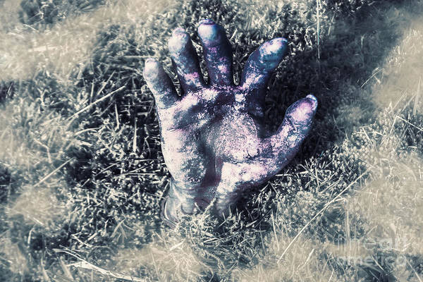 Cemetaries Wall Art - Photograph - Decaying Zombie Hand Emerging From Ground by Jorgo Photography - Wall Art Gallery